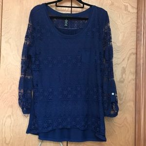 Navy lace front top